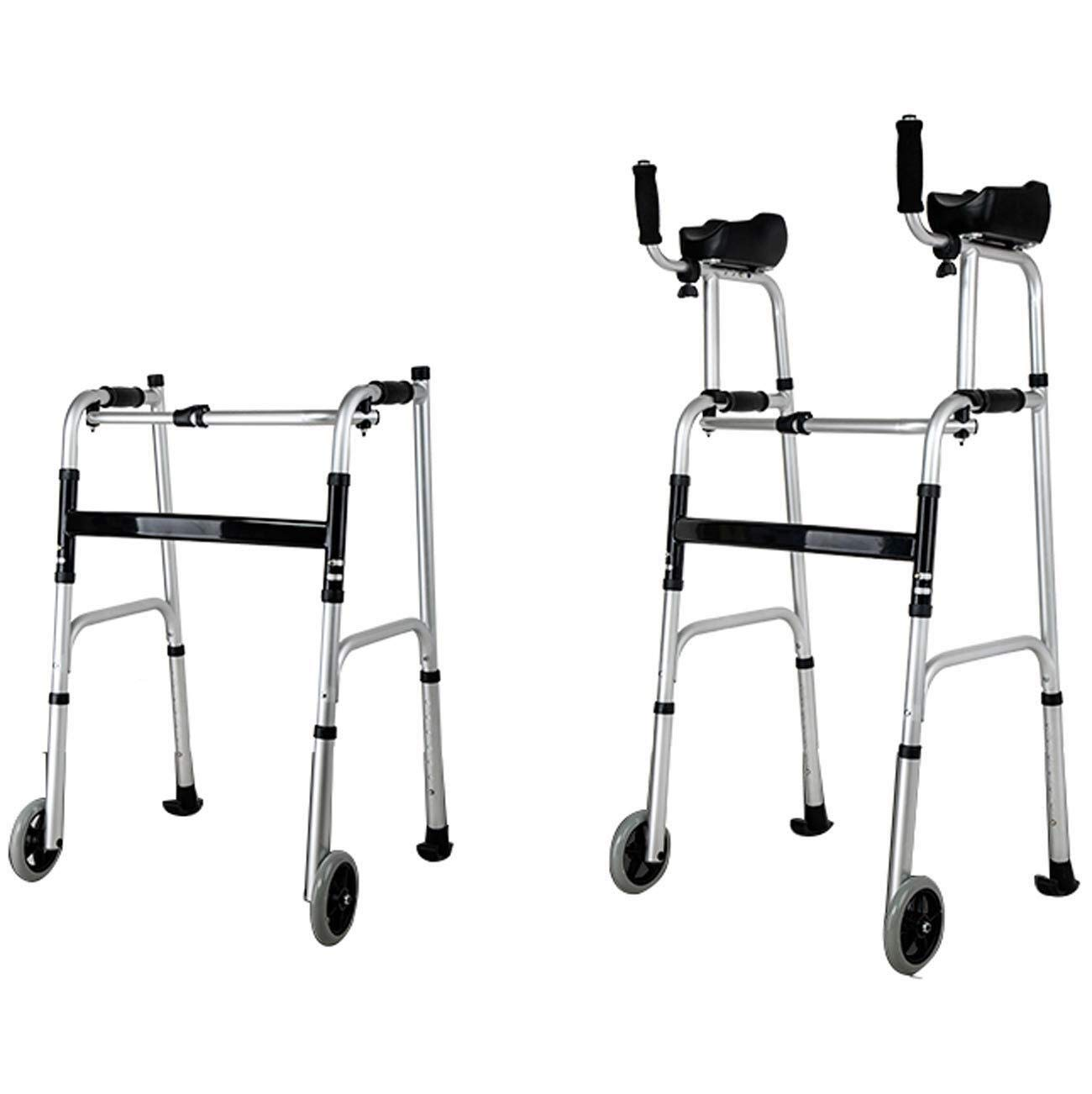 Walking Frame with Wheels Narrow, Portable Bag Lockable Brake Adjustable Height Auxiliary Walking Safety Walker (Color : with arm Drag) by YL WALKER (Image #3)