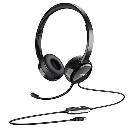 Mpow 071-Upgraded Durability Version, USB Headset with 3 5mm Jack,  Lightweight Computer Headset with Noise Cancelling Microphone, Comfy  Earmuffs,