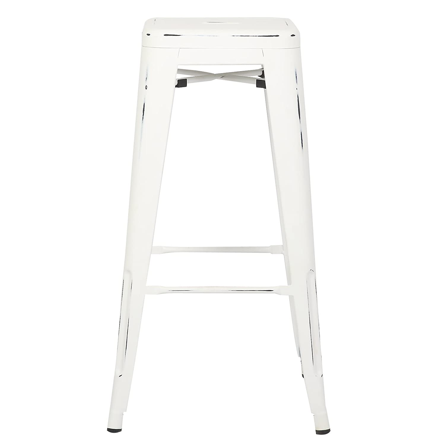 Poly and Bark Trattoria Bar Stool in Distressed White Set of 4