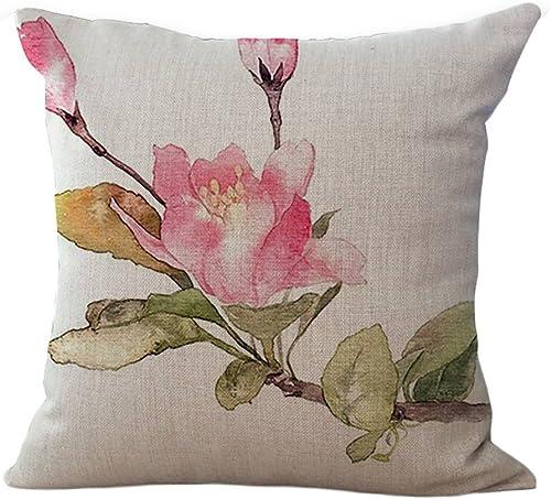 ChezMax Cotton Linen Cushion Pink Floral Pattern Square Decor Pillow Decorative Throw Pillow 18 X 18
