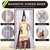 "White Magnetic Screen Door,Heavy Duty Mesh Screen & Full Frame Velcro-Keep Bugs Out,Let Fresh Air In.Screen Door Mesh Is Bulit Tough,Close Automaticlly.Fits Door Openings Up To 36""x82"" Max."