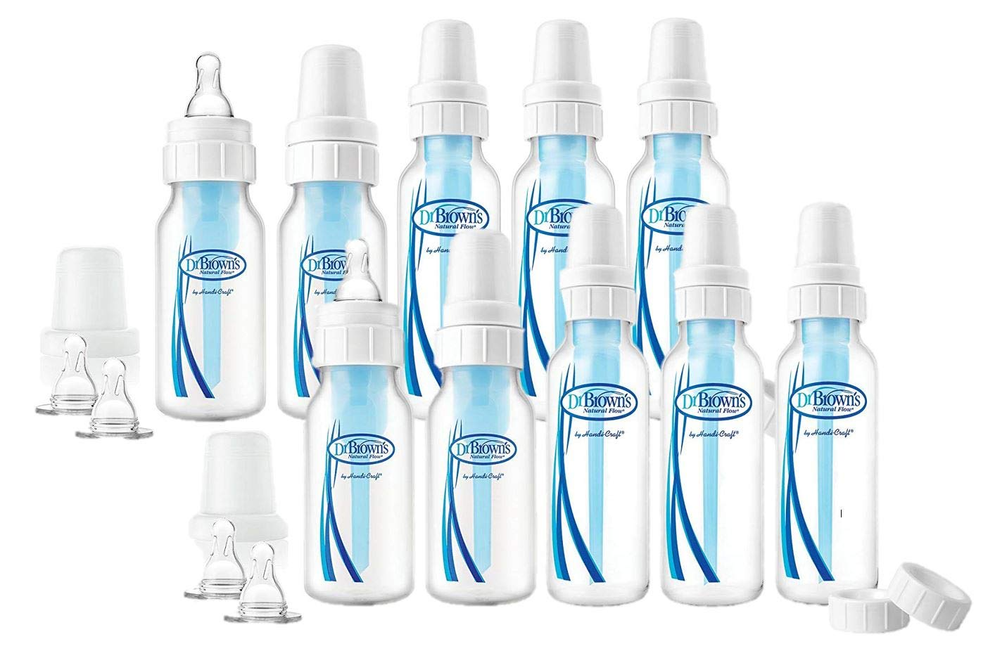 Dr Brown's Natural Flow Options Blue Hippo Bottles 8oz 0-6 Months Age 2 Pack Baby Bottles