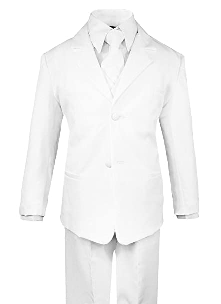 Boys 5 Piece First Communion Classic Fit Toddler No Tail Formal Dress Suit Set with Tie and Vest