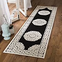 Safavieh Cottage Collection COT924E Black and Cream Runner (23 x 8)