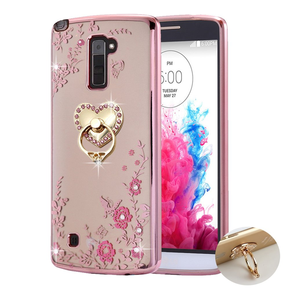 new product 8818d cdc64 LG Stylo 2 Case ,LG Stylo 2 plus Case Case , BestAlice Slim Soft Gel Clear  Bling Case Rose Gold Metal Plating Bumper Cover , Heart Ring Stand