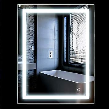 Turefans Espejo baño, Espejo baño con luz, Interruptor táctil, Suspensión Vertical/Horizontal, 22W, luz LED Blanca fría: Amazon.es: Hogar