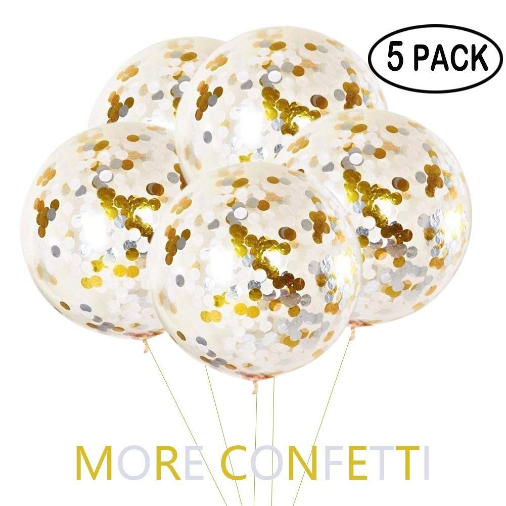 YIYEE 36 Jumbo Confetti Balloons 5 Pack, Clear Balloons With Gold & Silver Confetti Giant Balloons Glitter Balloons For Party Decorations & Wedding Decorations