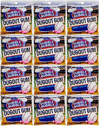Original Dubble Bubble GUM the Dugout Gum 2.25 Oz Each ( 12 Pouches in a Pack )
