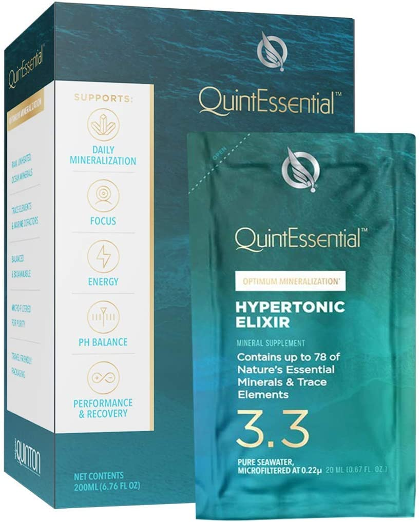 QuintEssential Hypertonic Elixir 3.3 Liquid Packets - Optimum 2X Mineralization Formula with 78 Ocean Minerals, Electrolytes & Trace Elements to Support Focus, Energy + Performance (10 Sachets)