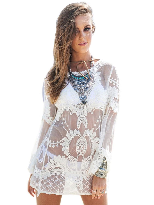 NICE BUY Damen Crochet Tunic Crochet Tunic Langarm Strandkleid Beachwear Bademode
