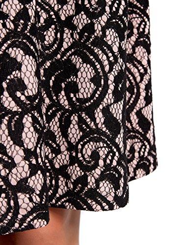 oodji Collection Mujer Falda de Encaje con Cinturón Elástico Decorativo Negro (294BL)