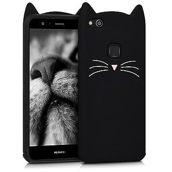 kwmobile Funda para Huawei P10 Lite - Carcasa Protectora de Silicona y diseño con Gato - Cover Trasero de móvil