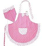 [アクアミー] 子供 フリル エプロン & 三角巾 セット 水玉 プリンセス
