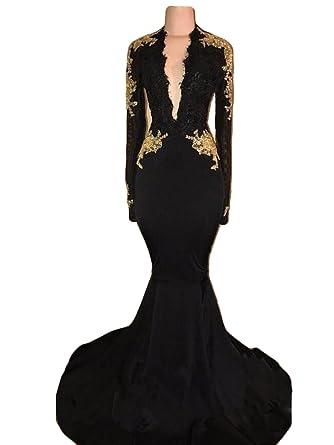 The Peachess Black Prom Dress Deep V-Neck Mermaid Evening Party Dress US2