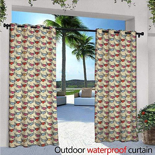 (BlountDecor Valentine`s Day Indoor/Outdoor Single Panel Print Window Curtain W84 x L84 Happy Flying Hearts with Wings Closed Eyes Symbols of Love and Romanticism Silver Grommet Top Drape Multicolor)