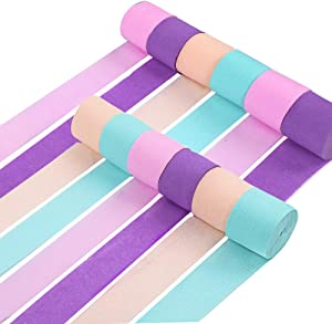 RUBFAC 12 Rolls Crepe Paper Streamers Unicorn Party Supplies Decorations for Kids Birthday Party Baby Shower Bridal Shower