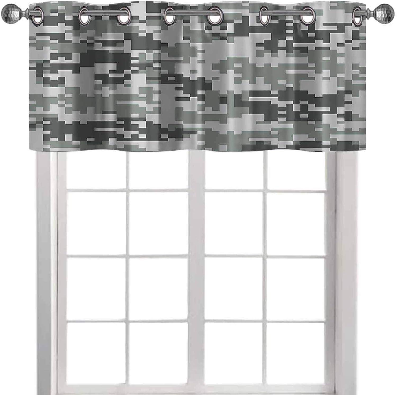 YUAZHOQI Window Curtain Valance Camo Digital Pixel Effect Modern Design Conceptual Comm 42