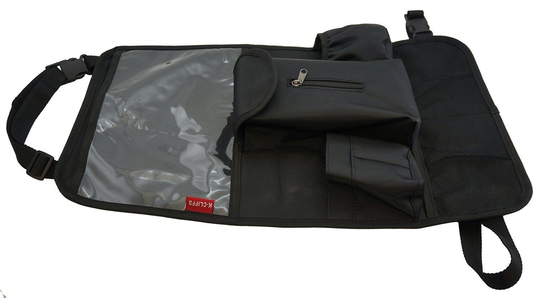 Black Adjustable Fitment K-Cliffs Easy Clean Backseat Organizer Kick Mat