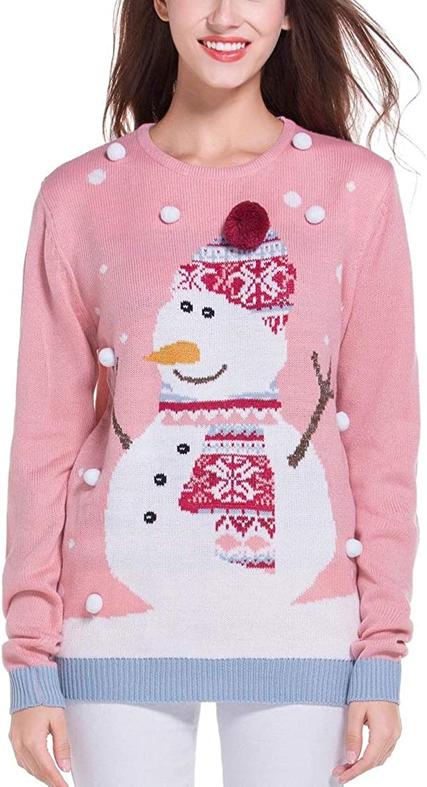 daisysboutique Womens Christmas Cute Snowman Snowflake Knitted Sweater Girl Pullover
