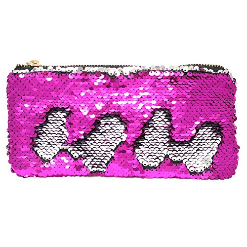 MHJY Sequin Pencil Case, Magic Mermaid Pencil Pouch for Girls,Reversible Sequin Makeup Cosmetic Bag Shiny Holder Purse Glitter Handbag Bling Clutch Purse for Women