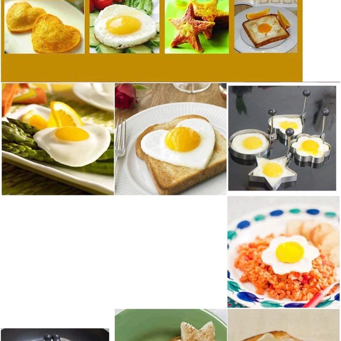 Candyboom Stainless Steel Form For Frying Eggs Tools Breakfast Omelette Mold Device Pancake Ring Egg Shaped Kitchen Tool Round