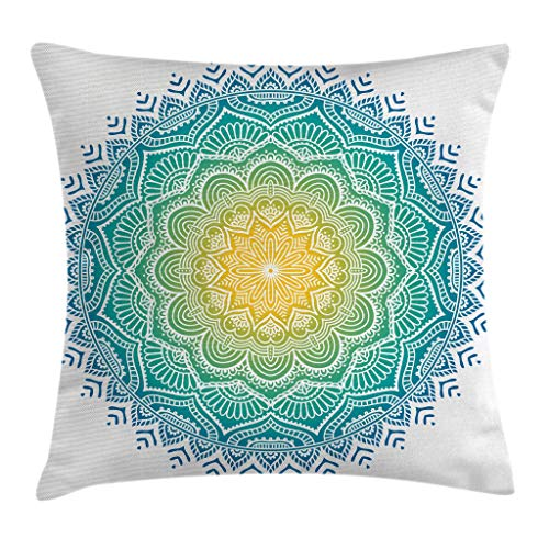 Ambesonne Mandala Throw Pillow Cushion Cover, Aquatic Color Mandala Pattern with Sun in Center Asian Art Meditation Zen, Decorative Square Accent Pillow Case, 24 X 24 Inches, Yellow Green Blue (Aquatic Center)