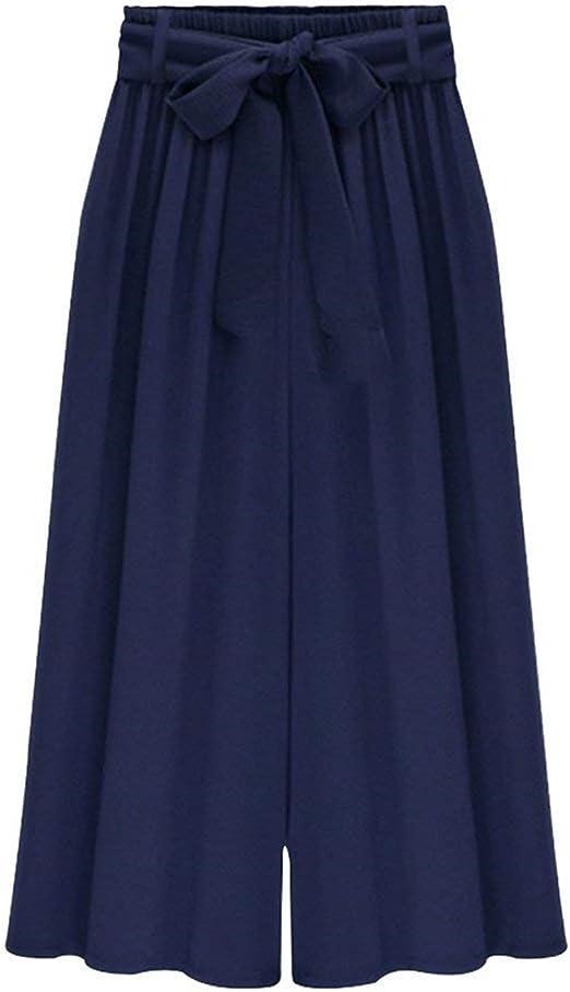 Pantalones Palazzo Mujer Fashion Anchas Cintura Alta Culotte Mujer ...
