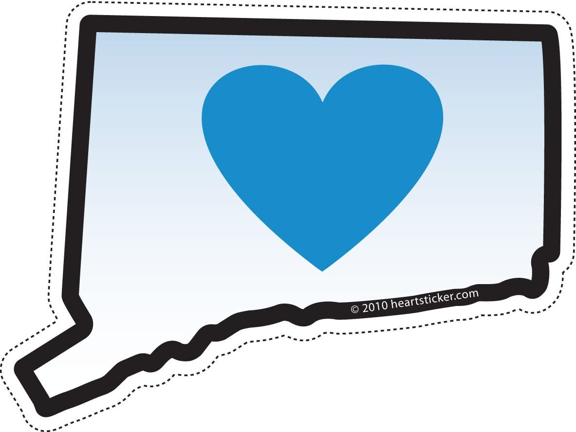 Connecticut Sticker Ct State Shaped Decal Blue Heart Label Apply To Water Bottle Laptop Cooler Car Truck Bumper Tumbler 203 Roots