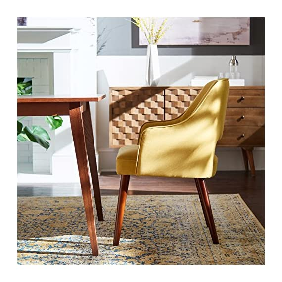 """Amazon Brand – Rivet Malida Mid-Century Modern Open Back Kitchen Dining Room Accent Chair, 22.8""""W, Canary - A cut-out back and tapered legs give this accent chair a classic mid-century modern design. Plenty of padding makes it sturdy and comfortable to use in the dining room or anywhere else extra seating is needed. 22.8""""W x 22.1""""D x 33.1""""H; Seat Height is 18.5"""" Fabric is 100% polyester. Hardwood legs with espresso finish. - kitchen-dining-room-furniture, kitchen-dining-room, kitchen-dining-room-chairs - 614UKQhOeoL. SS570  -"""