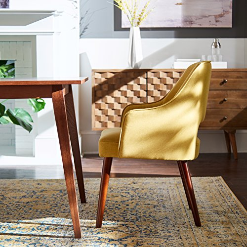 "Rivet Malida Mid-Century Modern Open Back Kitchen Dining Room Accent Chair - 18.5"" Seat Height, Canary"