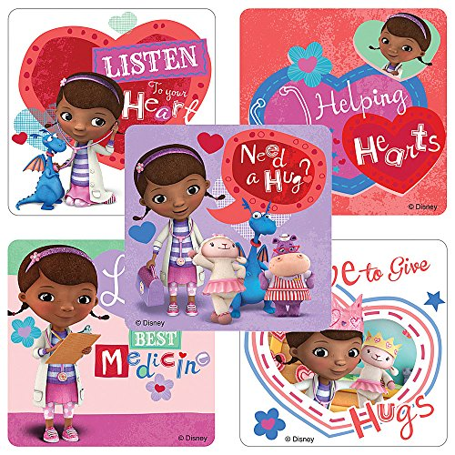 (SmileMakers Doc McStuffins Valentine's Day Stickers - Birthday and Theme Party Favors - 100 Per)