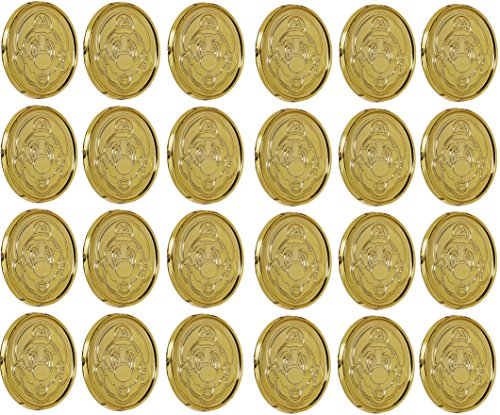 Amscan Super Mario Brothers Birthday Party Coins Favors (24 Pack), 1 3/8 x 1/8, Gold