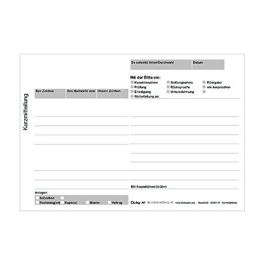 3er Pack Kurzmitteilung Kurzbrief Kurzanschreiben 3 Blöcke á 100