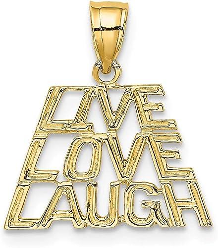 14K Yellow Gold Live Laugh Love Charm Pendant