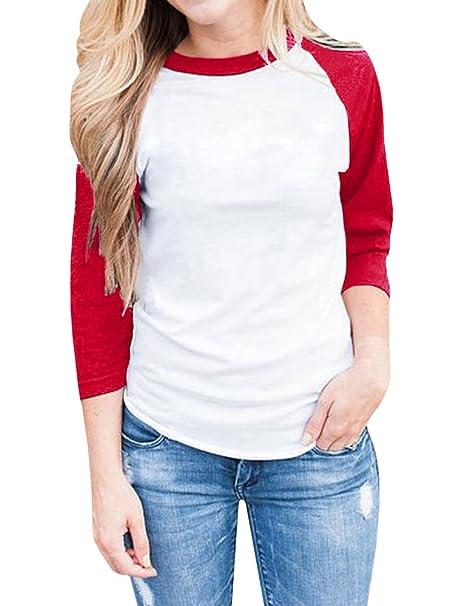 25454f311da Amazon.com  JOYCHEER Women s Raglan Shirt Long Sleeve Baseball Tee Jersey  Casual Plain Tunic Tops  Clothing
