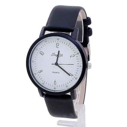 Rosepoem Relojes analógicos de cuarzo Relojes minimalistas simples reloj de la correa de PU Para hombre reloj de las mujeres Unisexo Blanco negro: ...