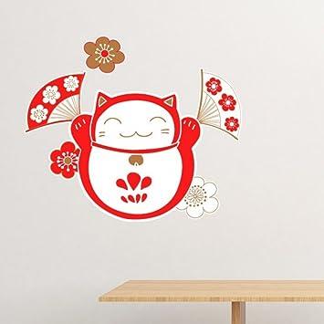 Lucky Fortune Cat Bell Flower Fan Japan Culture Removable Wall Sticker Art  Decals Mural DIY Wallpaper