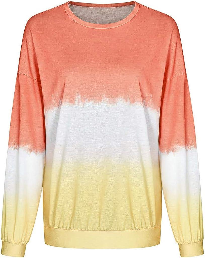 TWGONE Crewneck Sweatshirt Tie Dye Shirt Women Contrast Color Shirt Long Sleeve Pullover Tops