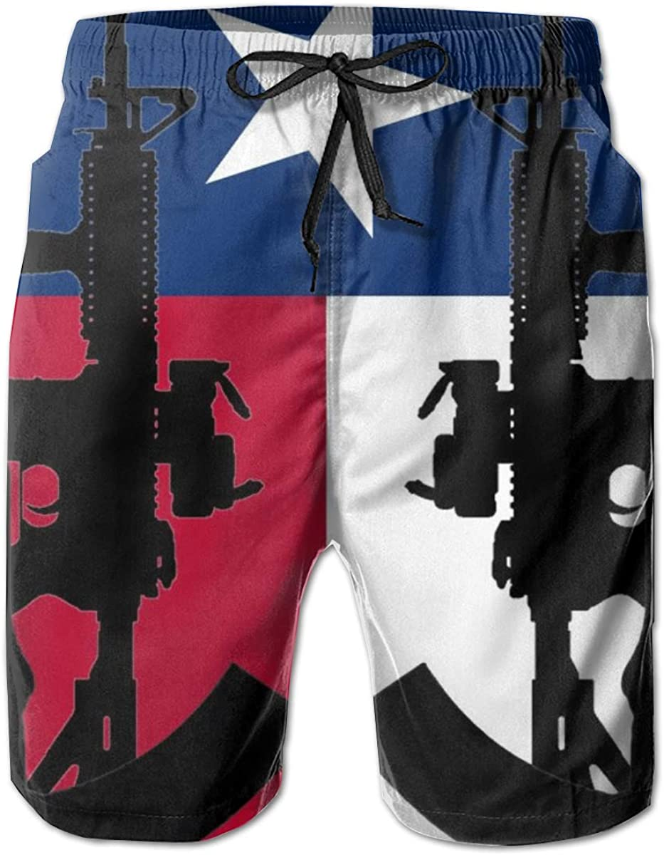 Men Board Shorts Swim Trunks Flag of Texas Water Resistant Outdoors Beach Summer with Pockets