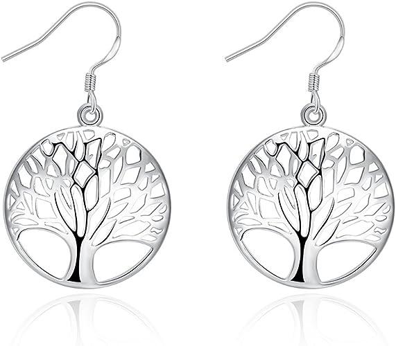 jewels house Life of Tree Earring Silver Plated Handmade Elegant Filigree Charm Drop Dangle Earrings Best Gift for Women Girls