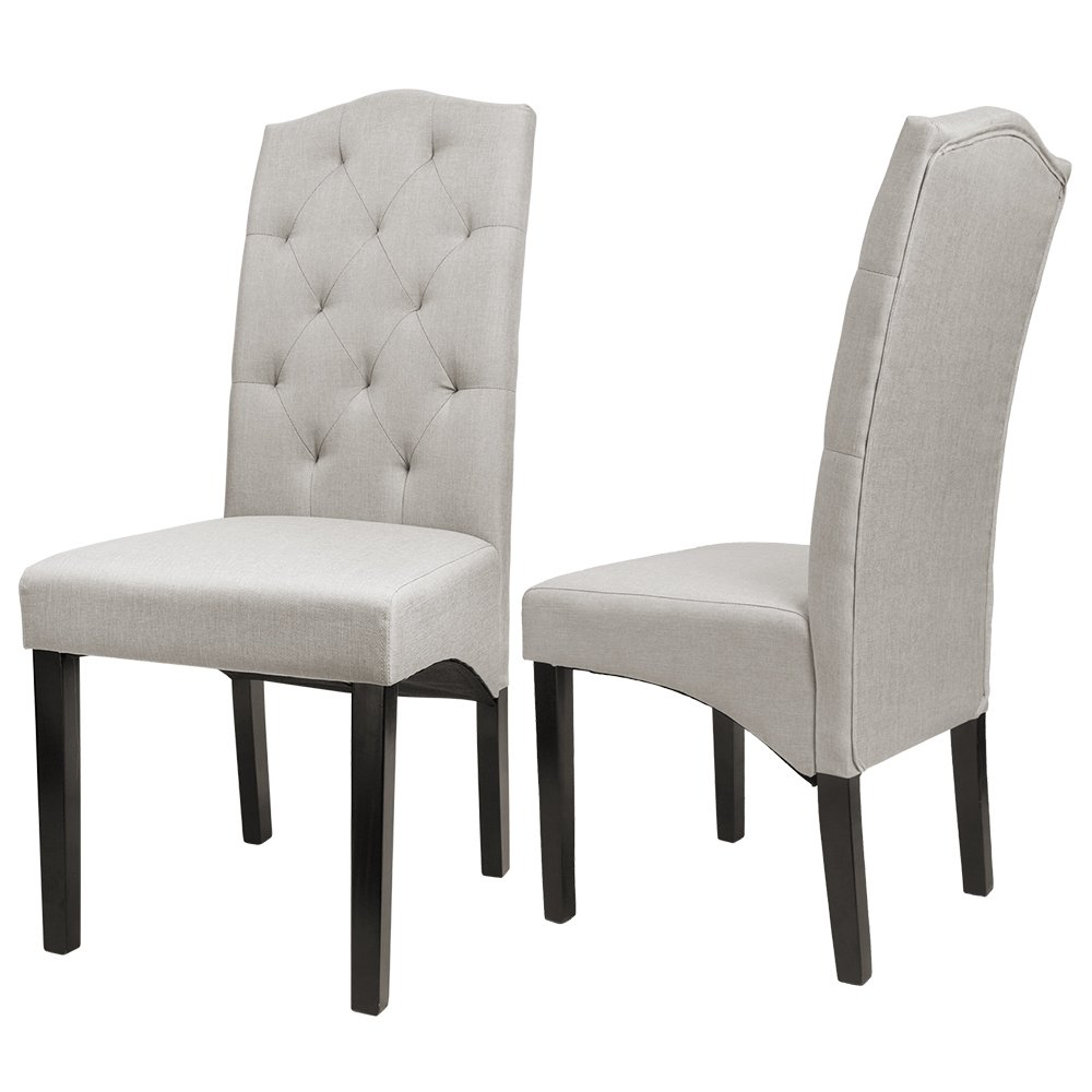 Furmax Dining Chairs Luxurious Tufted Fabric Parson Chair Side Chair With Solid Wood Legs Set of 2 (Beige)