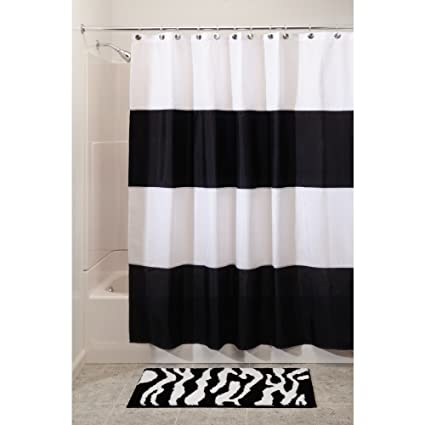 InterDesign Zeno Water Repellent Shower Curtain Modern Black White Stripes 72 X