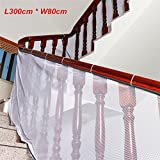 Children Safety Net Baby Fall Protection Safety Net Durable Weatherproof Adjustable Balcony/Stair Railing Safety Net for Kids Pet Toy Safety, Indoor and Outdoor Stairs Balcony or Patios-White