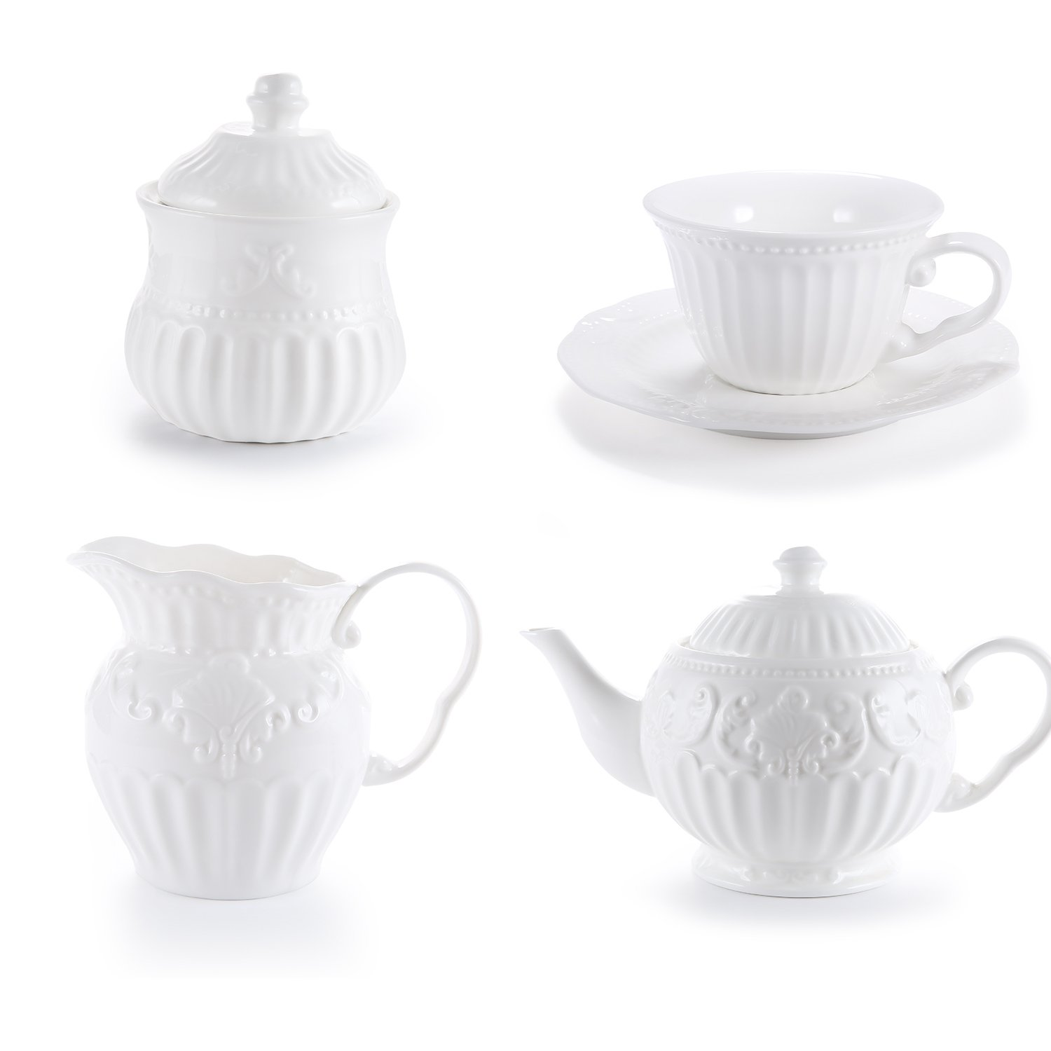 White Porcelain Tea Sets, 5 OZ Cups& Saucer Service for 4, with Teapot Sugar Bowl Cream Pitcher for Tea/Coffee