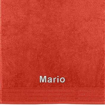 Erwin Müller Toalla con nombres Mario bordado, naranja, 50 x 100 cm: Erwin Müller: Amazon.es: Hogar