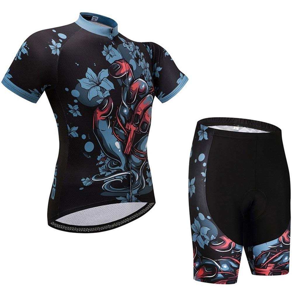 TONGDAUR Trikots Fahrradtrikot for Männer Frauen Kurzarm Fahrrad Reitausrüstung Wandern Laufbekleidung (Color : 1, Size : M)