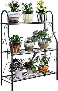 "MORITIA 3 Tier Metal Plant Stand Scrollwork Design Indoor and Outdoor Flower Rack, Home Storage Organizer Shelf, 27.9""x9.6""x32.6"""