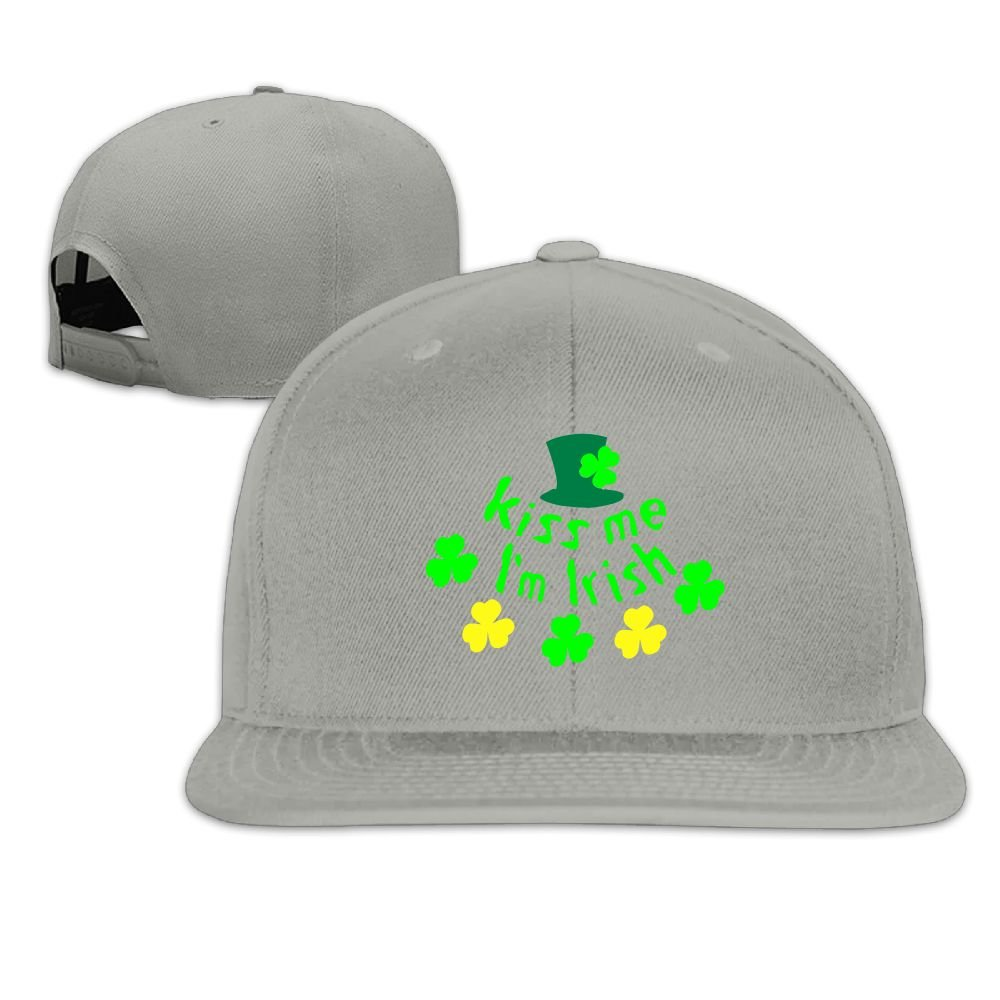 Kiss Me Im Irish Hat Shamrock Baseball Flat Hat chengwangkeji Design Your Own Unisex Snapback Adjustable Truck Cap Sports Travel Hat Natural