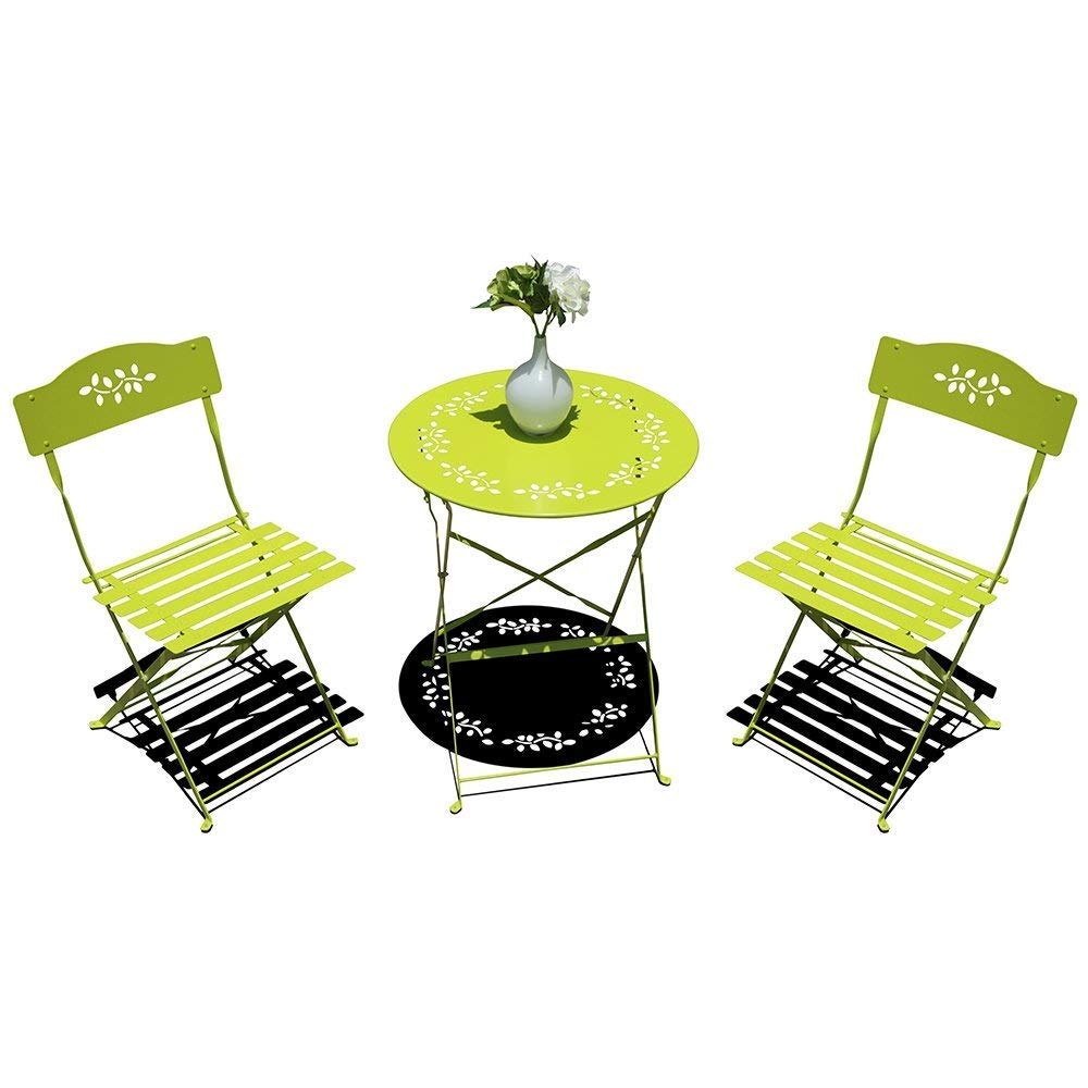 OC Orange-Casual 3-Piece Patio Bistro Set Steel Folding Dining Table and Chairs Garden Backyard Outdoor Furniture, Decorative Design – Light Green