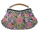 Womens Evening Bags - Beaded Clutch/Vintage Handbag/Fashion Flower Bridal Purse(2018 New)
